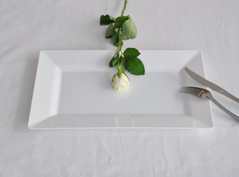 Disposable Rectangle dinner plate. White. 10 pieces.