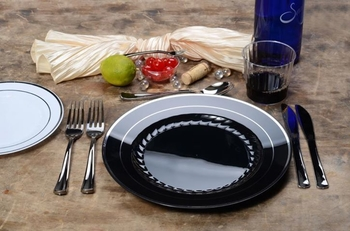 Round  Black Side plate with Silver edge. 10 pieces.